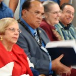 Council Members Gladys Baisa, Bill Medeiros, Jo Anne Johnson and Danny Mateo listen to the Mayor's 2010 Budget proposal presentation.