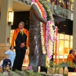 Dozens of lei grace the statue of Queen Ka'ahumanu at the shopping center named in her honor.