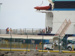 Superferry employees prepare for the final scheduled departure of the Hawaii Superferry before the company begins laying off some 236 employees tomorrow.