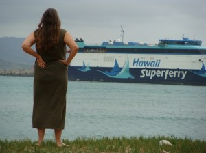 """""""I glad that they finally made a ruling on it.  I'm happy for all of the people who protested against it because they didn't feel that it was right the way it was done…being shoved down people's throats and I'm glad that it's leaving,"""" said Dorthy """"Dot Buck"""" who watched the Superferry depart on its last scheduled voyage from Kahului Harbor."""