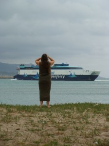"Maui resident Dorothy ""Dot"" Buck looks on as the Hawaii Superferry made it's last scheduled departure from Kahului Harbor on March 19, 2009.  Photo by Wendy Osher."