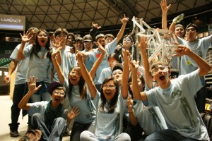 The 19-member Maui High robotics team becomes the first Maui team to qualify for the FIRST World Championship.  The group was part of at three-team alliance that won the weekend competition on Oahu.  Photo Courtesy:  Russell Pang, Office of the Governor.