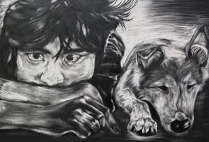 Third Place: Lori Nishikawa, H.P. Baldwin High School, 10th grade Title: What To Do (Boy and Dog) Medium: Scratch Board