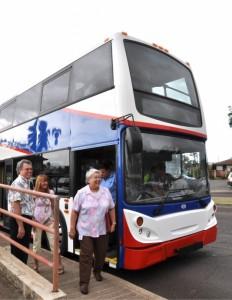 Mayor Steps Off Bus (L-R): County of Maui DOT Director Don Medeiros; Dept. of Planning Deputy Director Kathleen Aoki; Mayor Tavares; Jo-Ann Ridao (background), Deputy Director, Dept. of Housing & Human Concerns.  Photo Courtesy:  County of Maui.