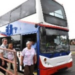 MAYOR TAKES DEMO RIDE ON DOUBLE DECK BUS