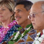 """Lt. Governor James """"Duke"""" Aiona (middle) and George Kaya, the Governor's Maui Liaison (right, foreground) were on hand for the Groundbreaking Ceremony, marking the start of the Lahaina Mini-bypass project.  Photo by Wendy Osher."""