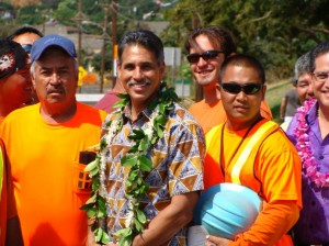 """Lt. Governor James R. """"Duke"""" Aiona said that while population on Maui has increased about 5% in five years, car registrations increased about 14%.  With more cars on the road, Aiona said, this project will help to alleviate traffic congestion in West Maui.  Photo by Wendy Osher."""
