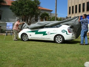 The Unveiling:  The Maui county-owned Toyota Prius is one of 130 vehicles in the national study.  The vehicle can travel up to 35 miles with a single charge.