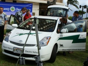 Students in the Maui High School automotive program participated in the conversion.  Students were able to obersve and assist, providing the young technitians with knowlege in the emergeing field of electric vehicle propulsion.