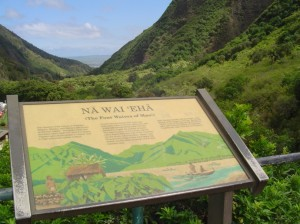A sign at Iao Valley State Park points to the significance of Na Wai 'Eha and the streams that sustained the life below.  Photo by Wendy OSHER © 2009.