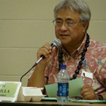Budget Chair Joe Pontanilla discusses the impact of the TAT on the county budget during a public hearing in Lahaina.  File photo by Wendy Osher.