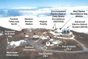Haleakalā High Altitude Observatory Site Aerial Showing Existing Facilities.  Photo Courtesy:  National Science Foundation & Hawaii Department of Health