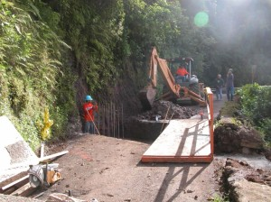Photo Courtesy:  County of Maui file photo.  This image shows the installation of a temporary bridge following the October 2006 earthquake.