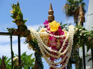 Members of Maui's royal societies presented ho'okupu (gifts) at the cemetery grounds of the Wai'olo Church as part of this weekend's Ali'i Sunday activities. Photo by Wendy Osher 2009.