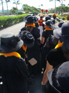The procession included members from Hawaii's Royal Societies.  Dressed in black were the women of 'Aha Hui Ka'ahumanu.   Photo by Wendy Osher.