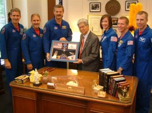 Akaka, McArthur, and the rest of the crew of Shuttle Atlantis  (Photo credit: Jesse Broder Van Dyke)