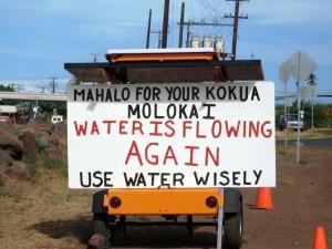 Mahalo Moloka'i - sign posted along roadside in Molokai.  Photo Courtesy: County of Maui.