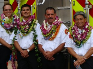 Maui's newest Battalion Chiefs, James Kino, Valeriano Martin, Derrick Arruda, and Karl Kubo were promoted to thier new posts during a badge pinning ceremony on Wednesday. Photo by Wendy Osher.