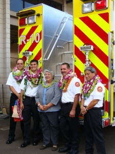 "Mayor Tavares poses with newly promoted Fire battalion chiefs (L-R) James ""Kimo"" Kino, Valeriano Martin, Derrick Arruda and Karl Kubo.  Photo by Wendy Osher."