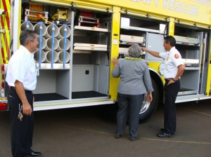 The Rescue 10 vehicle is outfitted with room for rescue equipment that can be transported simultaneously to the scene, arriving at the same time as rescue crews.