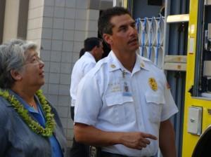 Maui Fire Chief gives Maui Mayor Charmaine Tavares a tour of Ka'imiloa, Maui's Heavy Rescue Truck, set to go online in August.