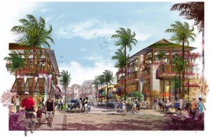 Image depicting the mainstreet portion of the Downtown Kihei project, courtesy Stoutenborough, Inc.