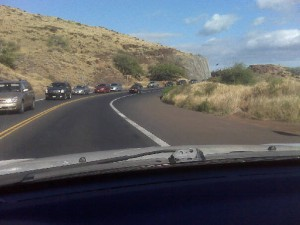 Image of today's traffic slowdown courtesy: Pat Sensano. Traffic slowed following a small brush fire reported in Olowalu shortly before 3 p.m.