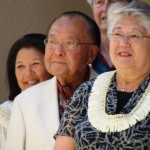 U.S. Senator Daniel Inouye (left) and Maui Mayor Charmaine Tavares (right) participate in the blessing ceremony for Maui's newest supercomputer. Photo by Wendy Osher.
