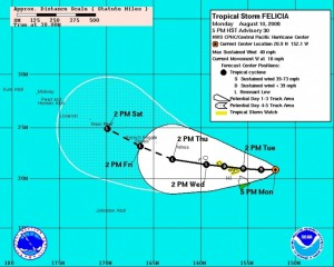 (Click to enlarge image. Cone imagery courtesy NOAA & NWS. Image updated at 5 p.m. 8/10/09)