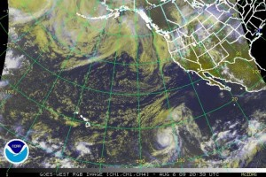 (Satellite Image as of 11 a.m. 8/6/09:  Image Courtesy:  NOAA, The National Weather Service, and The National Hurricane Center)