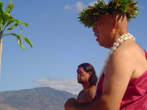 Keli'i Tau'a (seen in foreground) will Open the Maui Native Hawaiian Chamber of Commerce Event with a traditional blessing and dedication ceremony.  File Photo by Wendy Osher.