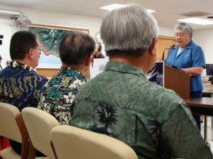 Maui Mayor Charmaine Tavares unveiled her version of the Budget in March, presenting the document to members of the Maui County Council.  File Photo by Wendy Osher.