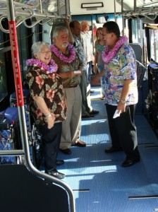 Maui Mayor Charmaine Tavares joins Ry Barbin and Maui Councilmember Michael Victorino in touring one of two new buses dedicated today to meet increase ridership.  Photo by Wendy Osher.