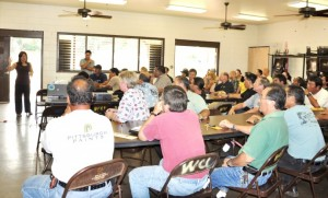 County of Maui Environmental Coordinator Kuhea Paracuelles (standing, left) addresses County and State employees at the Little Fire Ant training led by entomologist Mach Fukada (standing, right).  Photo Courtesy County of Maui.