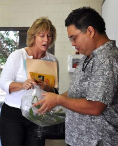 Mach Fukada (R) shows County employee Tamara Wells a live specimen of the Stinging Nettle Caterpillar, another pest species of particularly high concern because of its ability to deliver painful stings to people and its impact on the agricultural industry.  Photo courtesy County of Maui.