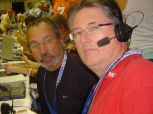 File Photo by Pacific Radio Group.  Barry Helle (r) and Fred Guzman (l) will be joined by Josh Pacheco in broadcasting live play-by-play action from the 2009 EA SPORTS Maui Invitational Basketball Tournament.