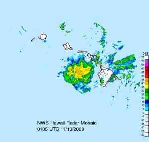 Radar Image 3:05 p.m. HST Courtesy: National Weather Service.