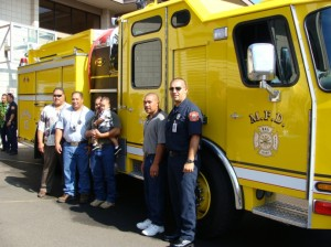 "The Purdy family was on hand for the blessing of a fire truck named in honor of the late paniolo or cowboy, Ikua Purdy.  The litteral translation of ""Ikua"" is ""a time to stand.""  Photo by Wendy Osher."