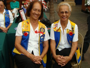 Lady Grace (left), a lifetime member of the Ladies Auxiliary VFW is joined by a fellow member in honoring Maui's Veterans in a Commemorative event at the Queen Kaahumanu Center in Kahului.  Photo by Wendy Osher.