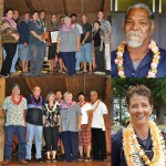 PHOTOS COURTESY: County of Maui.  Top left: Environmental Management Team of the Year: Central Maui Landfill Team. L-R: Tia Stupplebeen, Craig Chaves, Jonah Nakila, Ryan Toyama, Kolo Pupunu, Cory Kealoha, Halona Laborte, Jun Valle, Ikaika Benavides, DEM Director Cheryl Okuma, DEM Deputy Director Gregg Kreske.  Top right: Molokai Employee of the Year: Rogelio Cabanting, Landfill Bulldozer Operator.  Bottom right: Lanai Employee of the Year: Kimberly Masse, Police Officer III.  Bottom left: Retirees (L-R): Ernest Amoral, Dennis Souza, Patricia