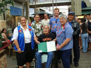 """Maui Mayor Charmaine Tavares presents a proclamation to the VFW Buddy Poppies program for their work in """"Honoring the Dead by Helping the Living.""""  Photo by Wendy Osher."""