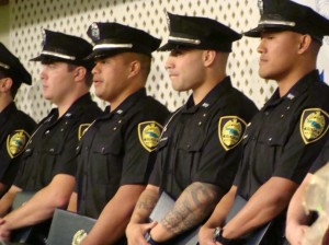 Members of the Maui Police Department 71st Recruit Class include:  Brandon Asuega-Stark, Michael Bocon II, Aly Miyashiro, Miguel Munoz, Joshua Nascimento, Marvin Tevaga, Edward Ferreira, Joshua Kalb, Angela Kahoohanohano, Devin Pagaduan, and David Pachico.  Photo by Wendy Osher.