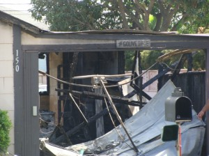 Two adults and two children were displaced by a Friday morning fire at a residence located across the street from the HFN gas station in the Kahului Industrial Area.  Photo by Wendy Osher.