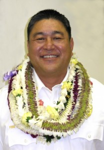 Maui Fire Captain Lee Mainaga was promoted to the rank of Fire Services Chief in a ceremony held on Monday at the Kahului Fire Station. Photo Courtesy County of Maui.