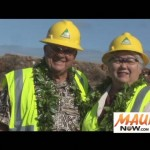 "David ""Buddy"" Nobriga and Maui Mayor Charmaine Tavares join in breaking ground on the long-awaited Lahaina Watershed Flood Control Project.  Photo by Wendy Osher."