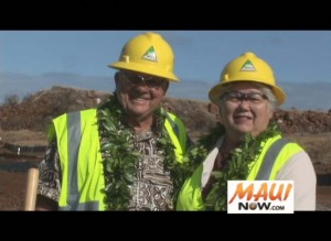 """David """"Buddy"""" Nobriga and Maui Mayor Charmaine Tavares join in breaking ground on the long-awaited Lahaina Watershed Flood Control Project.  Photo by Wendy Osher."""