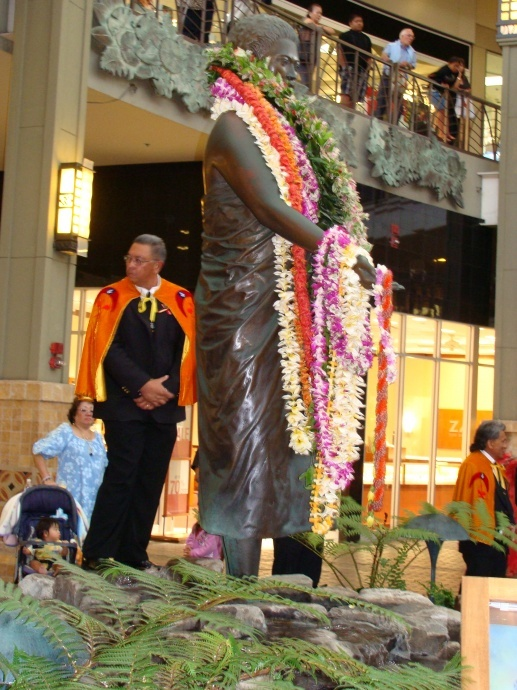 File Photo of the annual lei draping ceremony held in March 2009 at the Queen Kaahumanu Statue in Kahului.  The legislature is considering a concurrent resolution that seeks the creation of a task force to consider the merits of creating a monument in Kaahumanu's honor in Hana, the area of her birth. Photo by Wendy Osher.