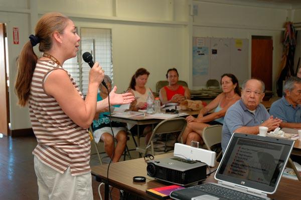 Courtesy Photo:  Maui Memorial Medical Center Foundation.  Kim Finney, RN shares important health tips during a Mālama Puʻuwai program.