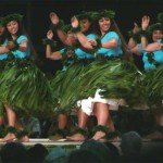Maui Halau Ke'alaokamaile under the direction of Kumu hula Keali'i Reichel take top honors in the 2010 wahine (women) categories.  Photo by Wendy Osher.