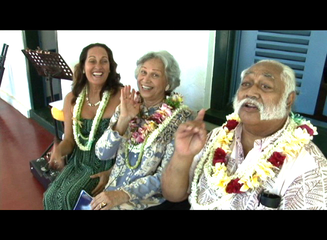 Nā Hōkū award winner Robyn Kneubuhl of the Hula Honey's joins her mom and living legend, Aunty Emma Veary in Kanikapila with Poki hosted by Pacific Media Group's Braddah Poki.  File photo 2010 by Wendy Osher.